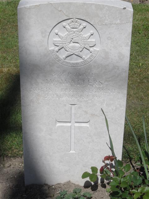 Commonwealth War Graves Commission headstone marking his grave at Vermelles British Cemetery, pas de Calais. 