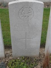Commonwealth War Graves Commission headstone marking his grave at Duisans British Cemetery, Etrun, Pas de Calais, France. Courtesy of Murray Biddle