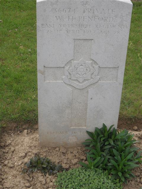 Commonwealth war grave headstone marking his grave at Duisans British Cemetery, Etrun, Pas de Calais,France. Courtesy of Murray Biddle