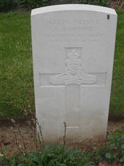 Commonwealth War Graves Commission headstone marking his grave at Peronne Communal Cemetery Extension, Somme, France. Photograph courtesy of Murray Biddle.