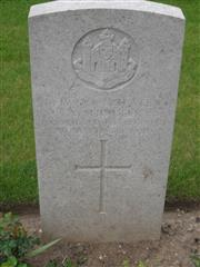 Commonwealth war grave headstone marking his grave at Peronne Communal Cemetery Extension, Somme, France. Courtesy of Murray Biddle