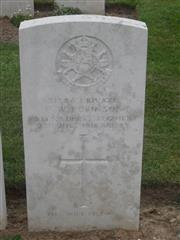 Commonwealth war grave headstone marking his grave at Dantzig Alley British Cemetery, Mametz, Somme, France. Courtesy of Murray Biddle