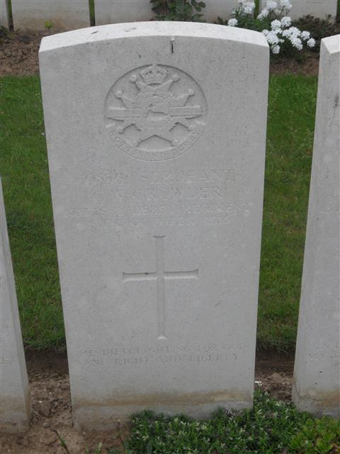 Commonwealth war grave headstone marking his grave at Grove Town Cemetery, Meaulte, Somme France. Courtesy of Murray Biddle