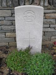 Commonwealth war grave headstone marking hid grave at Bienvillers Military Cemetery, Pas de Calais, France. 