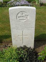 Commonwealth war grave headstone marking his grave at Warlincourt Halte British Cemetery, Saulty, Pas de Calais, France. Courtesy of Murray Biddle
