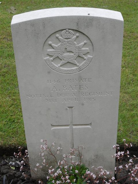 Commonwealth War Grave Commission headstone marking his grave at Kemmel Chateau Military Cemetery, France . Courtesy of Murray Biddle