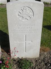 Commonwealth War Graves Commission headstone marking his grave at Lissenthoek Military Cemetery , Belgium . Courtesy of Murray Biddle