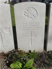 Commonwealth war grave headstone marking his grave at Lijssenthoek Military Cemetery , Belgium . Courtesy of Murray Biddle