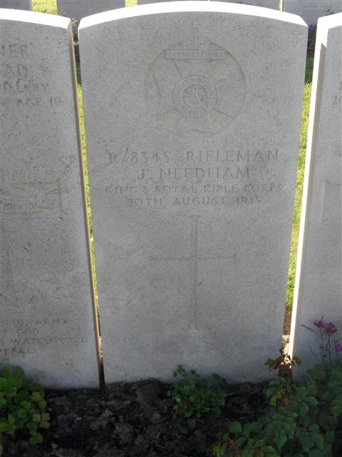 Commonwealth War Graves Commission headstone marking his grave at Lijssenthoek Military Cemetery , Belgium . Courtesy of Murray Biddle