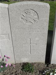 Commonwealth War Graves Commission headstone marking his grave at Lijssenthoek Military Cemetery, Belgium. Courtesy of Murray Biddle