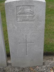 Commonwealth war grave headstone marking his grave at Brandhoek Military cemetery, Belgium. Courtesy of Murray Biddle