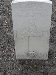 Commonwealth war grave headstone marking his grave at Vlamertinghe New Military cemetery, Belgium. Courtesy of Murray Biddle