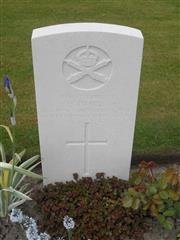 Commonwealth war grave headstone marking his grave at Bedford House Cemetery , Belgium. Courtesy of Murray Biddle