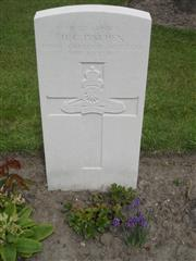 Commonwealth war grave headstone marking his grave at Voormezeele Enclosure , Belgium. Courtesy of Murray Biddle