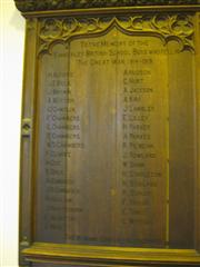 A plaque in Kimberley Parish Hall commemorating boys from the town's British School which formerly stood on the site.