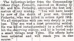 Letter to his his parents from Fotherby's commanding officer.