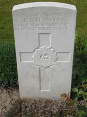 Commonwealth war grave headstone marking his grave in Cement House  Cemetery, Belgium 