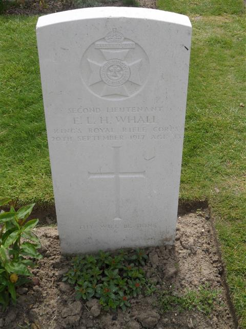 Commonwealth war grave headstone marking his grave in Tyne Cot Cemetery, Belgium Courtesy of Murray Biddle