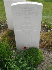 Commonwealth War Graves Commission headstone marking his grave at Tyne Cot cemetery, Belgium, Courtesy of Murray Biddle