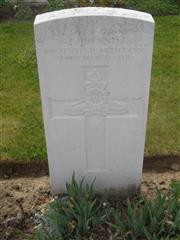 Commonwealth war grave headstone marking his grave at Dochy Farm New British Cemetery, Belgium . Courtesy of Murray Biddle