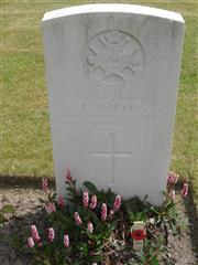 Commonwealth war grave headstone marking his grave at White House Cemetery, St Jean-Les-Ypres, Belgium . Courtesy of Murray Biddle