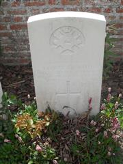 Commonwealth war grave headstone marking his grave at White House Cemetery, St Jean-Les-Ypres, Belgium. Courtesy of Murray Biddle