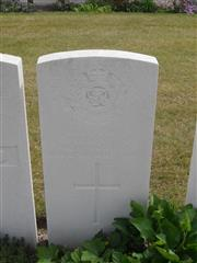 Commonwealth war grave headstone marking his grave at Duhallow ADS Cemetery,  Belgium. Courtesy of Murray Biddle
