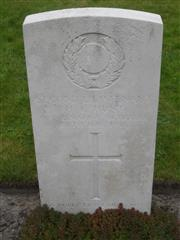 Commonwealth war grave headstone marking his grave at Coxyde Military Cemetery, Belgium. Courtesy of Murray Biddle