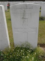 Commonwealth war grave headstone marking his grave at Quarry Cemetery, Mountauban, Somme Courtesy of Murray Biddle.
