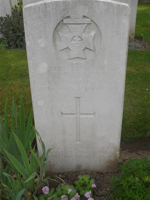 Commonwealth War Graves Commission headstone marking his grave at Quarry Cemetery, Mountauban, Somme Courtesy of Murray Biddle.