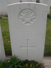 Commonwealth War Graves Commission headstone marking his grave at Tincourt New British Cemetery, Somme Courtesy of Murray Biddle