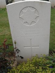 Commonwealth war grave headstone marking his grave at Sanders Keep Military Cemetery, Graincourt-Les-Havrincourt . 