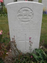 Commonwealth war grave headstone marking his grave at Gouzeaucourt New British Cemetery, Nord .  Courtesy of Murray Biddle