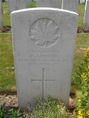 Commonwealth War Graves Commission headstone marking his grave at Canadian Cemetery No 2 Neuville St Vast Courtesy of Murray Biddle