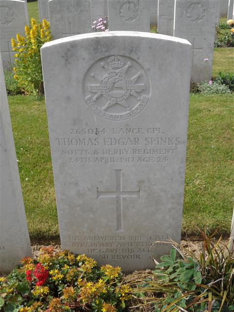 Commonwealth war grave headstone marking his grave at Canadian Cemetery No 2 Neuville St Vast Courtesy of Murray Biddle