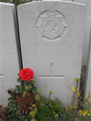 Commonwealth war grave headstone marking his grave at Bailleul Communal Cemetery, Nord. Courtesy of Murray Biddle