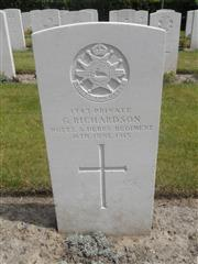 Commonwealth War Graves Commision headstone marking his grave at Loker Churchyard, Belgium. Photograph Murray Biddle ,