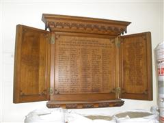 Board with WW2 names added to form a tryptich. Photograph Rachel Farrand
