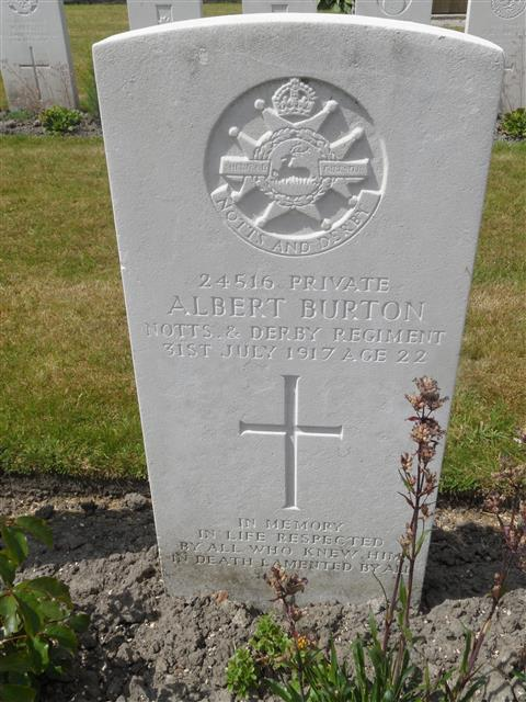 Commonwealth war grave headstone marking his grave at Potijze Burial Ground Cemetery,Belgium Courtesy of Murray Biddle ,