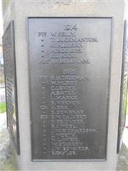 Close up of panel showing the names of the fallen 1914 & 1915