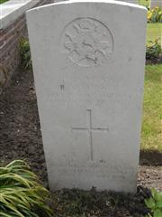 Commonwealth war grave headstone marking his grave at Spoilbank Cemetery , Belgium. Courtesy of Murray Biddle