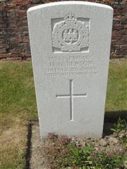 Commonwealth war grave headstone marking his grave at Perth Cemetery (China Wall) , Belgium. Courtesy of Murray Biddle