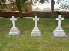 Photo shows the three graves at Balderton St Giles Churchyard where men from Balderton , Barks, Kitchen and Wood who all died in the Irish Rebellion 1916 are buried side by side. Courtesy Peter Gillings