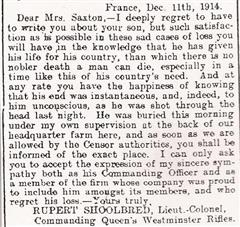 Letter from Saxton's commanding officer