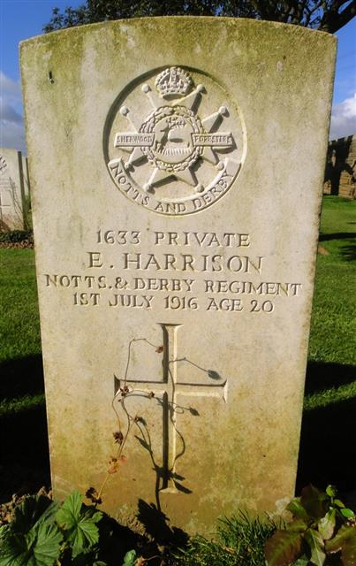 Photograph of E Harrison's headstone in Gommecourt Wood New Cemetery Foncquevillers.