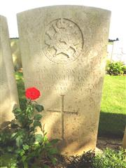 Commonwealth War Graves Commission headstone marking his grave at Gommecourt Wood New Cemetery, Foncquevillers, Pas De Calais.