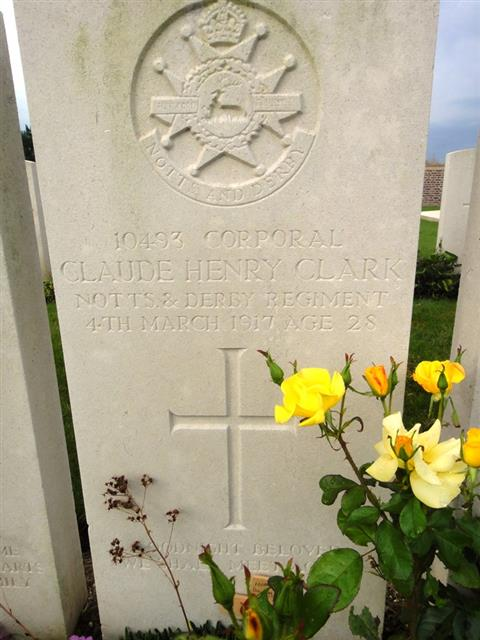 Photograph taken in Hem Farm Military Cemetery on 14 July 2016. His headstone records his name as Claude Henry.