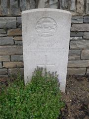 Commonwealth war grave commission headstone marking hid grave at Bienvillers Military Cemetery, Pas de Calais, France. Courtesy of Murray Biddle