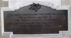This tablet immediately below the Great War memorial is to those who died in the Second World War: 'This tablet commemorates with pride and love those Officers and Men of The South Notts Hussars who gave their lives for their King and Country in the War of 1939-1945 (6 names).' Photograph Rachel Farrand (February 2014).