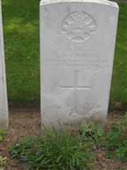 Commonwealth War Graves Commission headstone marking his grave at Cabaret-Rouge British Cemetery, Souchez, Pas de Calais, France. Courtesy of Murray Biddle